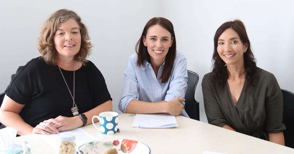 Professor Juliet Gerrard, Prime Minister Jacinda Ardern and Nanogirl Dr Michelle Dickinson