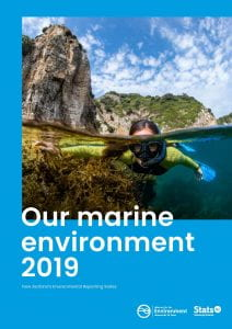 Cover of the report 'Our marine environment 2019' by the Ministry for the Environment and Stats NZ