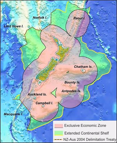 Map showing New Zealand's exclusive economic zone (EEZ)