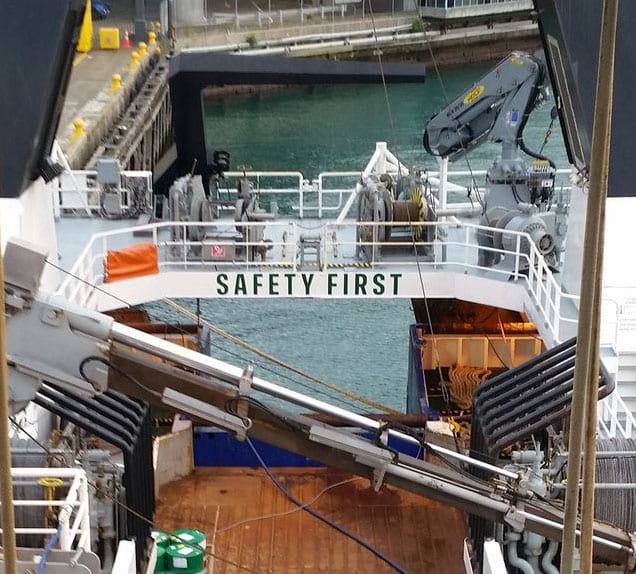 Safety first sign onboard the RV Tangaroa