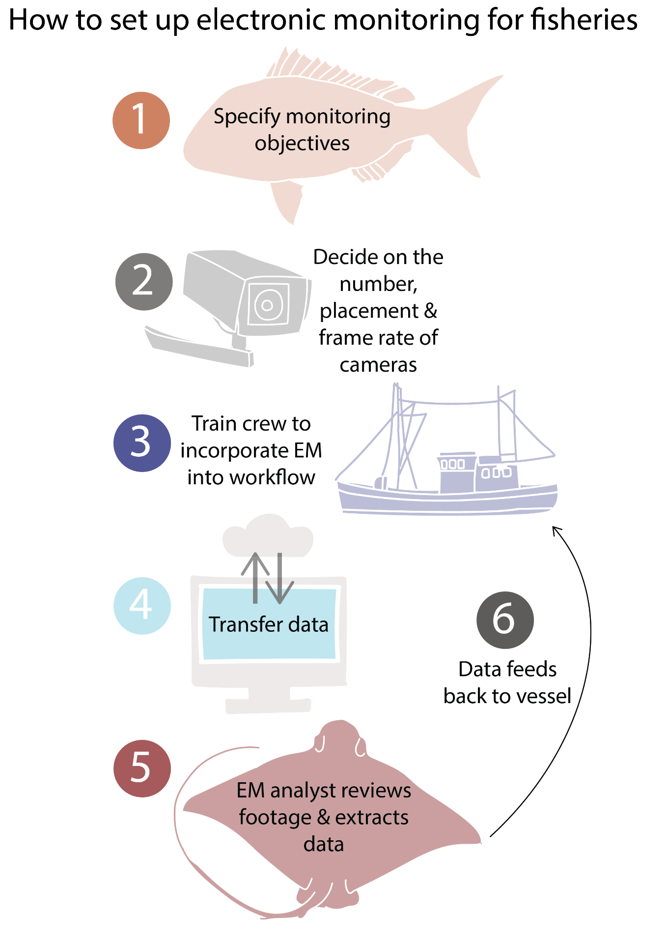 How to set up electronic monitoring for fisehries: 1) Specify monitoring objectives, 2) Decide on the number, placement and frame rate of cameras, 3) Train crew to incorporate EM into workflow, 4) Transfer data, 5) EM analyst reviews footage and extracts data, 6) data feeds back to vessel.