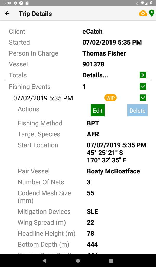 Screengrab from the eCatch apps howing trip details for 'Boaty McBoatface'