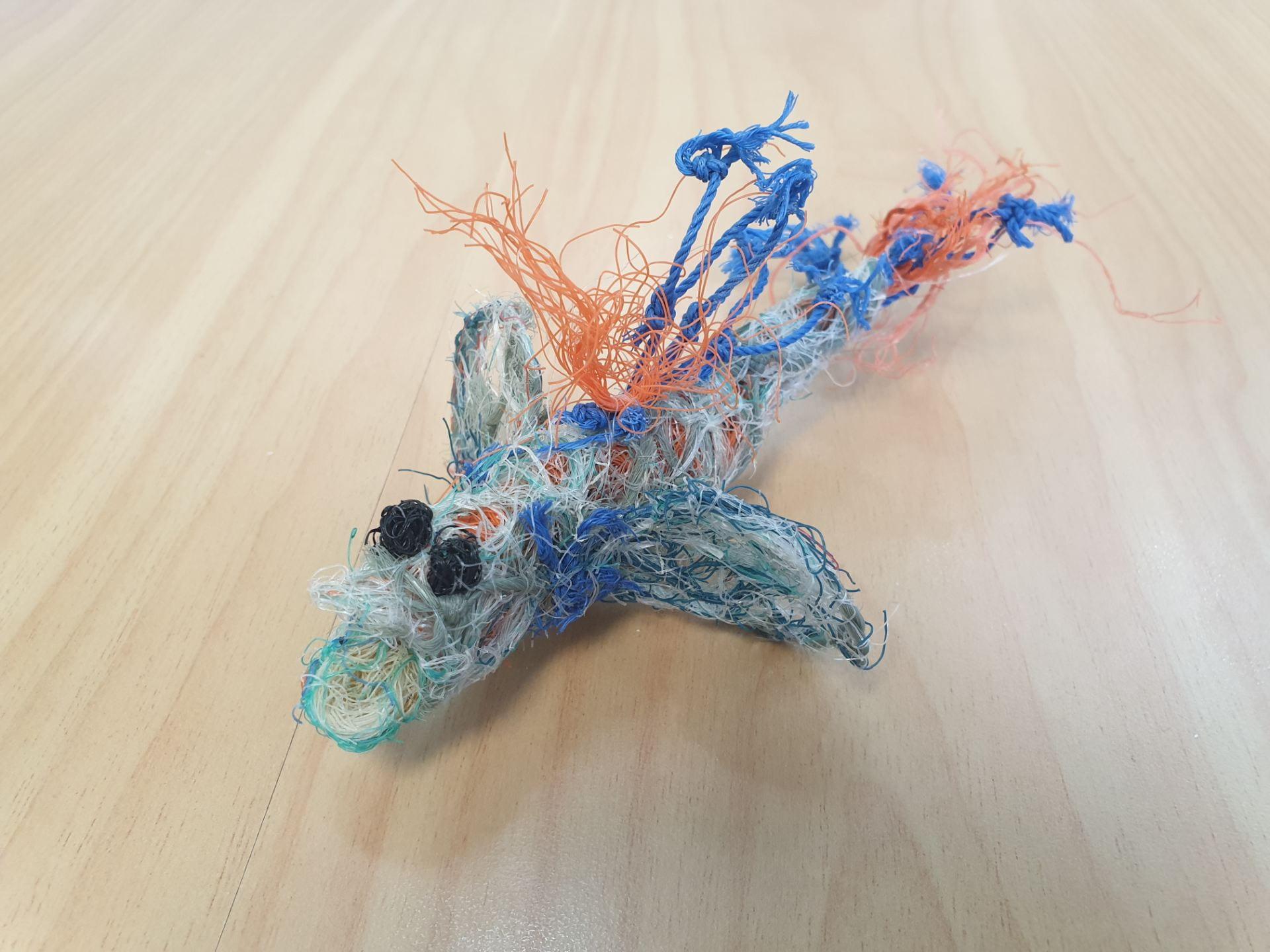 A mudskipper fish made from plastic fishing nets