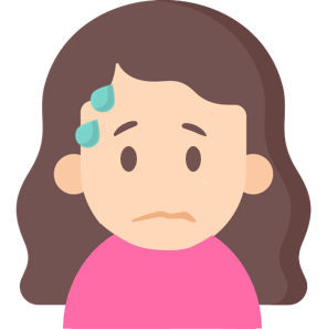 cartoon girl with sweat droplets and a worried expression
