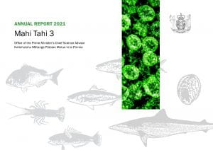 Mahi Tahi 3 - annual report 2021 front cover featuring fish outlines and an image of SARS-CoV-2 virus particles
