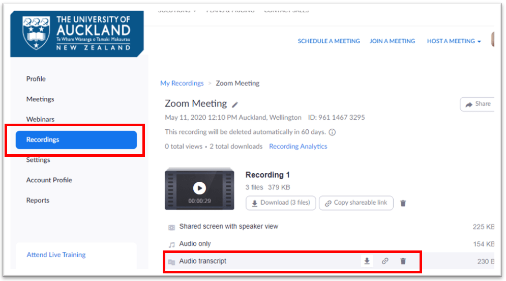 Click the cloud recording link in the email from Zoom or from the Recordings section on the Zoom web portal.