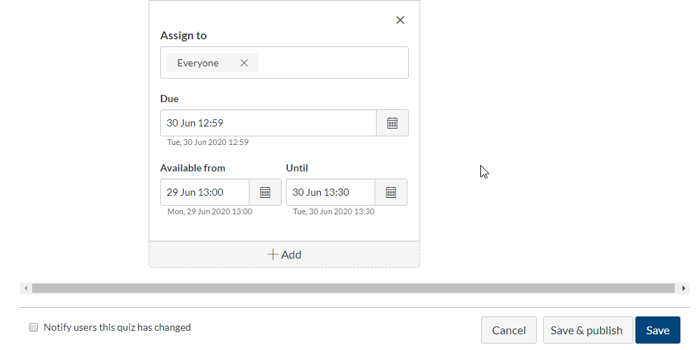 Canvas screenshot showing the assignment availability settings