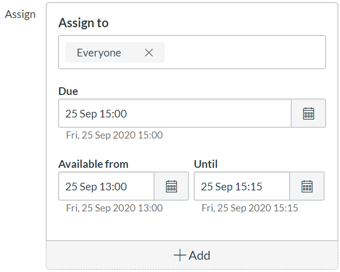 Canvas screenshot showing test due date