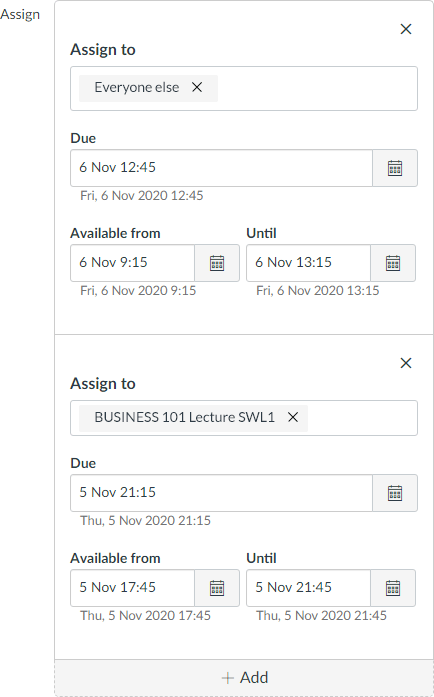 Screenshot of Canvas Quiz due dates