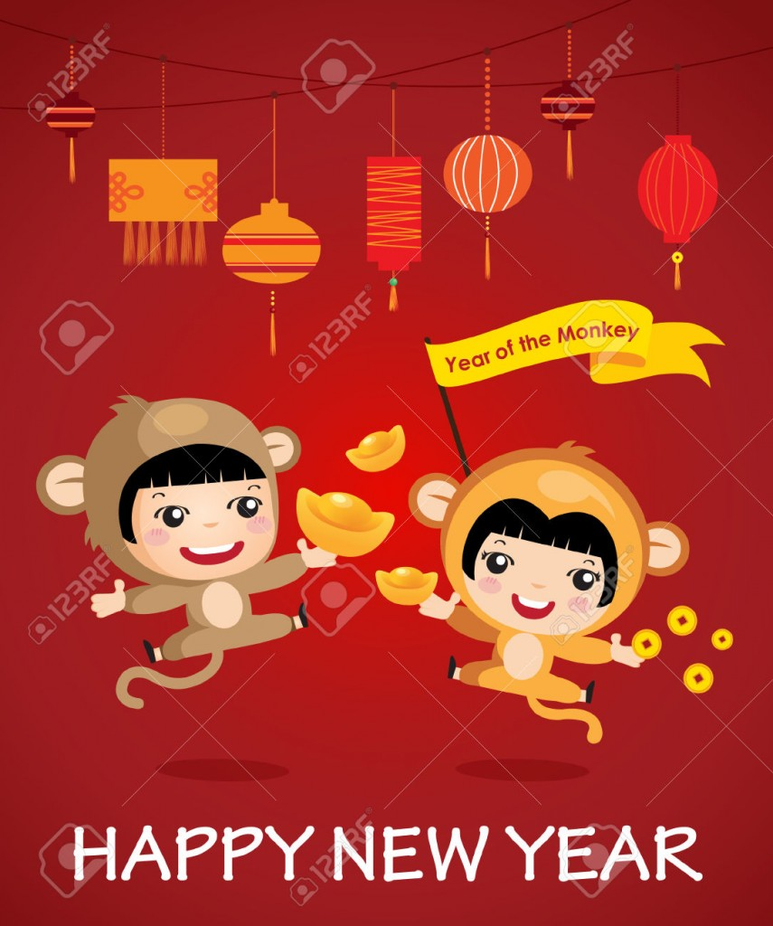 41436824-Happy-new-year-of-the-monkey-character-design-cartoon-boy-girl-Happy-chinese-new-year-Stock-Vector