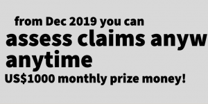 Assess claims, anywhere anytime, US1000 in monthly prizes