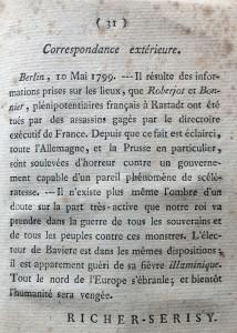 'Richer-Serisy' letter, 10 May 1799