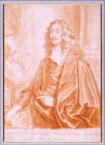 Sandrart self portrait in red chalk.
