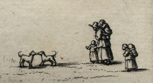 Engraving of woman with children and two dogs outside Queen's College