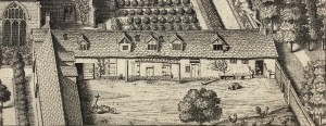 Engraving of tenant house next to Trinity College