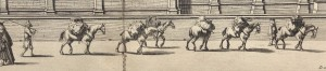 Engraving of a team of pack horses outside the Church of St Mary the Virgin
