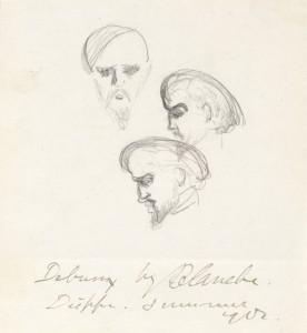 Jaques-Émile Blanche (1861-1942), Claude Debussy, 1902. Graphite on paper. Grainger Museum collection, University of Melbourne