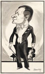 Leonard Frank Reynolds (1837-1939), Caricature of violin virtuoso Efrem Zimbalist, 1927. Ink on paper. Grainger Museum collection, University of Melbourne