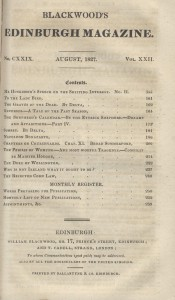 Contents page from Blackwood's Magazine, August 1827, including an article on The Duke of Wellington, Rare Books Collection