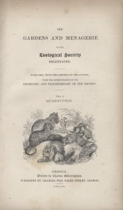 Title page of The Gardens and Menagerie of the Zoological Society, Rare Books Collection