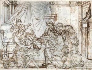 Attributed to Eustache Le Sueur, Zechariah regains his speech, 17th century