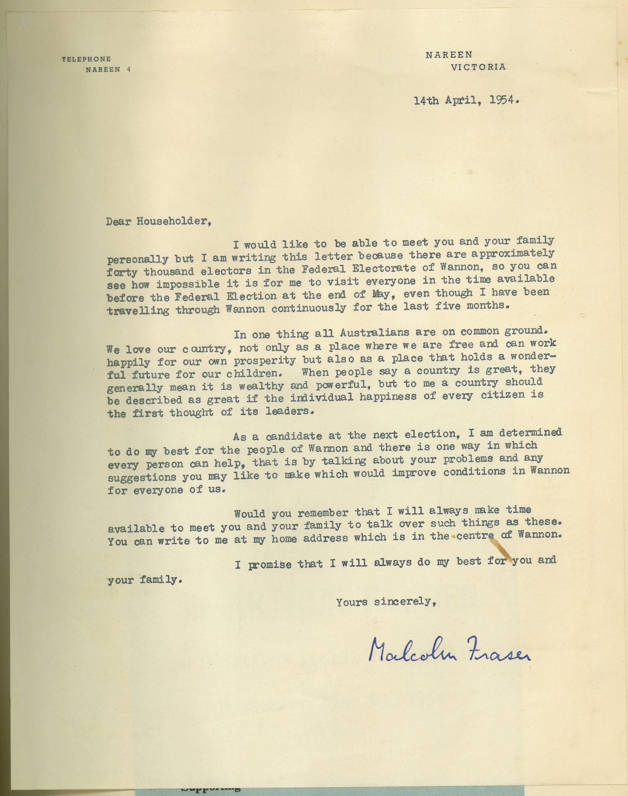Electorate letter from Malcolm Fraser, 14 April, 1954