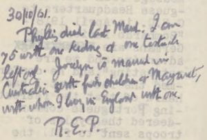 Detail of the second note, Raymond Priestley's Australian diary, 1935