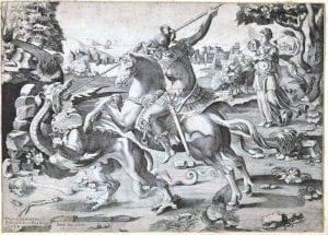 Enea Vico, St. George Killing the Dragon (1542), engraving after Giulio Clovio