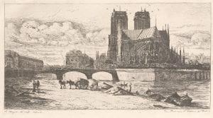 """Charles Meryon, """"The apse of Notre-Dame, Paris"""", Plate 21 from 'Eaux-Fortes sur Paris', (1850-61), etching."""