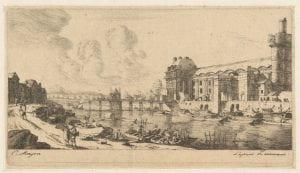 """Charles Meryon after Renier Zeeman, """"Le Pavillon De Mademoiselle Et Une Partie Du Louvre"""", (1849), etching"""