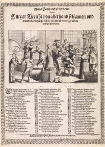 Broadsheet: The shop for new heads (Newer haupt und kopff kram), c.1650, engraving and letterpress