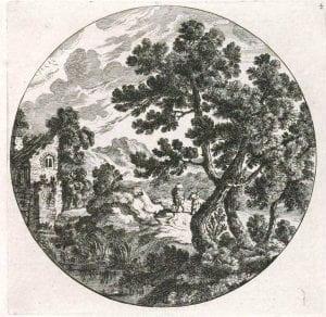 Cornelis Danckerts, Landscape with ruined mill (17th century)