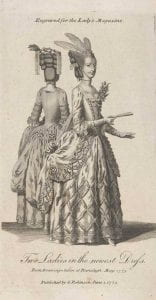 Published by G. Robinson, Two ladies in the newest dresses, engraving, 1775