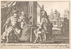 Pieter Hendricksz Schut after Matthaeus Merian, Matthaeus, Haman Pleads For His Life Before Esther and the King (1659) engraving.