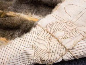 Mandy Nicholson, Wurundjeri-willam, Possum Skin Cloak 2014. Possum pelts, nylon wax string, woodburnt design. University of Melbourne Collection.