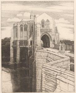 Frederick Landseer Maur Griggs, St Botolph's Bridge, (1917), etching.