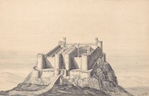 C.H. Ashdown, Harlech Castle in 1300, pencil and watercolour, 1921.