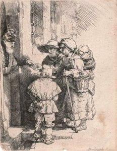 Rembrandt van Rijn, Beggars receiving alms at the door of a house, 1648, etching.