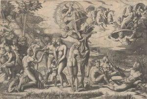 Marcantonio Raimondi, after Rapael, The Judgement of Paris, (1510-20), engraving.