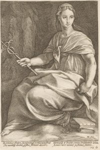 Hendrick Goltzius, Polyhymnia, Plate 8 from series 'The Nine Muses,' (1592), engraving.
