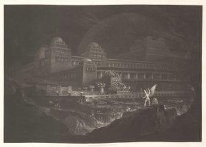 John Martin, Pandaemonium from series Paradise Lost, 1825, mezzotint.