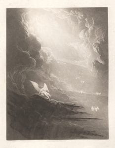 John Martin, Satan viewing the ascent to Heaven from series Paradise Lost, 1825, mezzotint.