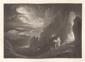 John Martin, Adam and Eve driven out of Paradise from series Paradise Lost, 1827, mezzotint.