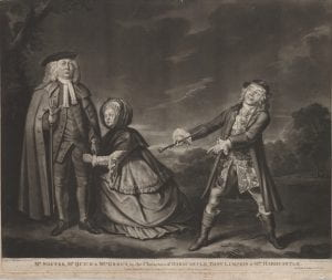 Robert Laurie after Thomas Parkinson, Mr Shuter, Mr Quick, and Mrs Green in the characters of Hardcastle, Tony Lumpkin & Mrs Hardcastle, mezzotint, 1776.
