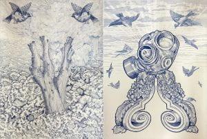 Rosalind Atkins and eX de Medici, 'til Dusk...Dawn, 2010-2011, etching and engraving.