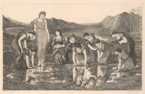 Felix Jasinski after Edward Burne-Jones, The Mirror of Venus, 1896, engraving on vellum.