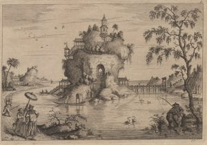 Attributed to John June after Augustin Heckel, Chinese Landskip 5, (1750-1760), etching.