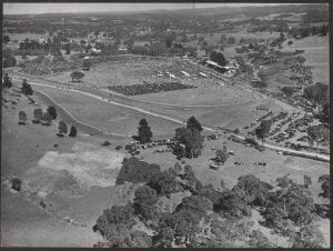 Oakbank Racecourse, the scene of the Great Eastern steeplechase on Easter Monday each year, 1948