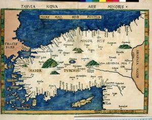Martin Waldseemüller after Claudius Ptolemy, Tabvla nova Asia Minoris, woodcut, 1513.