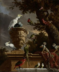 A painting of a menagerie with birds and monkeys